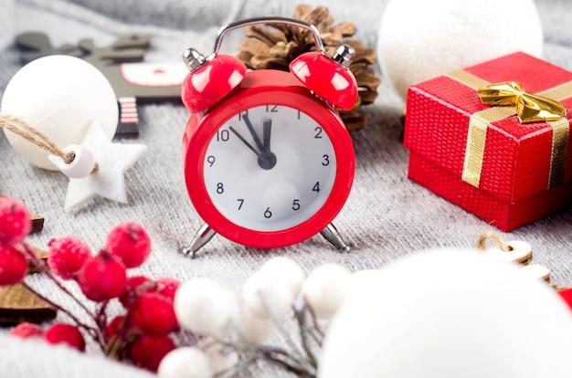 年末年始の構成クリスマスの時間の概念グリーティングカード