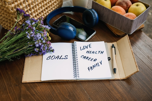 New years resolutions goals motivational phrase in open notebook on the table outdoor still life