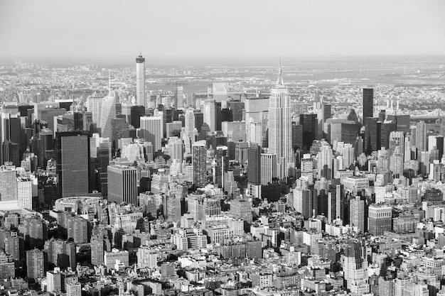 New york aerial view from helicopter, cityscape and skyscrapers