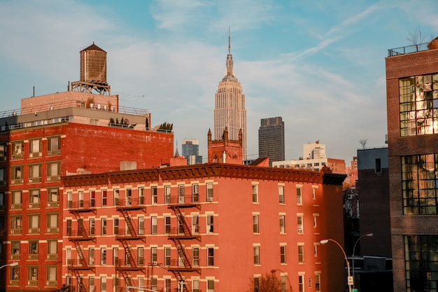 New york city panorama manhattan skyline during sunset city concept