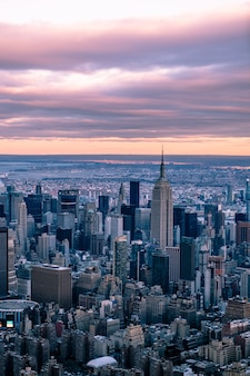 New york city skyline at sunset, aerial photography, empire state building