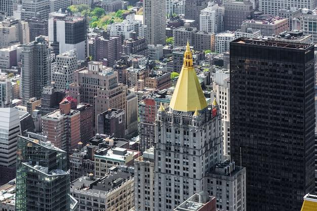 Нью-йорк городской пейзаж с высоты птичьего полета