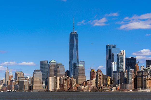 New york cityscape river side which location is lower manhattan