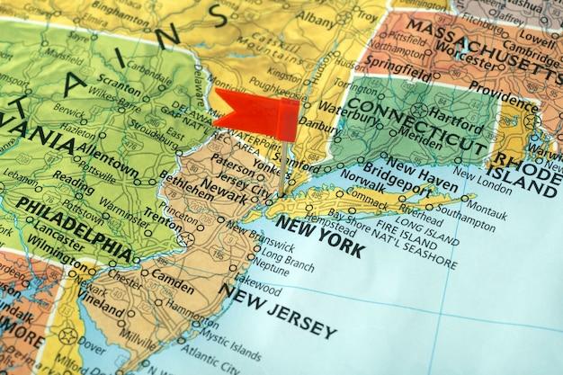 미국지도에 뉴욕. 미국 여행