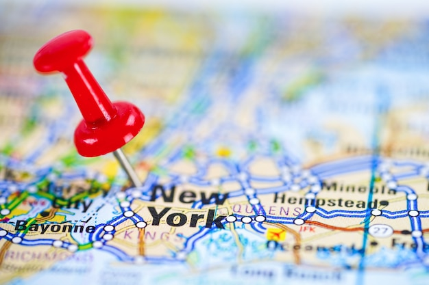New york, road map with red pushpin, city in the united states of america usa.