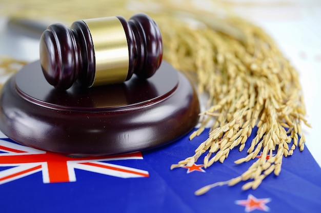 New zealand flag and judge hammer with gold grain from agriculture farm