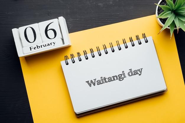 뉴질랜드 휴일 waitangi 겨울 달 달력 2 월의 날.