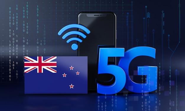 ニュージーランドは5g接続コンセプトの準備ができています。 3dレンダリングスマートフォン技術の背景
