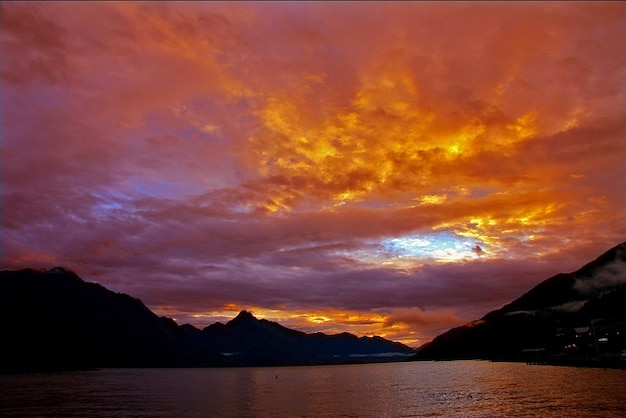 New zealand sunset orange queenstown lake sky