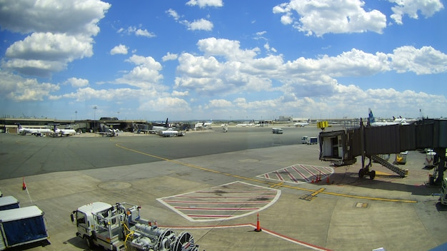 Newark, nj - june 07: terminal a of newark liberty international airport in new jersey to aircraft of continental and jetblue