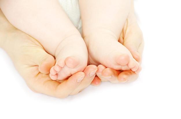 신생아 아기 발 흰색 절연