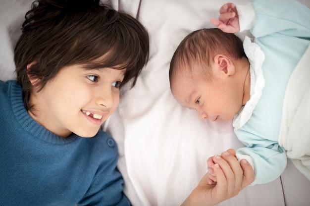 Newborn baby with bigger brother