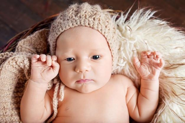 目を開けて生まれたばかりの赤ちゃん。 20日齢のかわいい新生児の肖像画