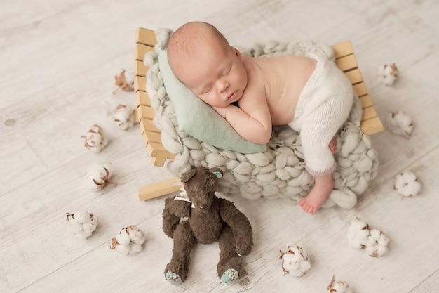 Newborn boy  sleeping at home