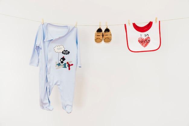 Newborn concept with clothesline