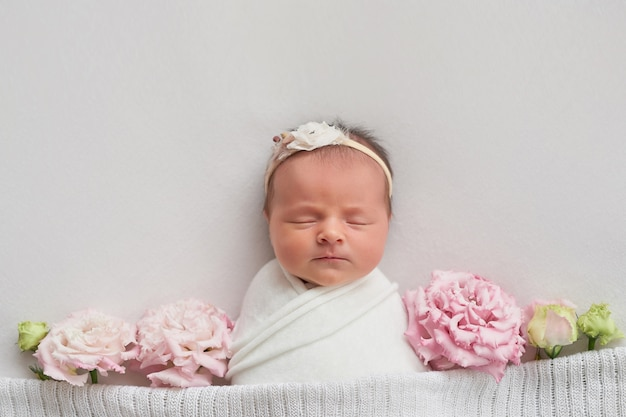 Newborn girl on a light background