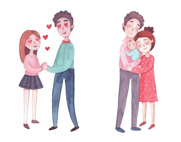 아기를 안고 신생아 부모입니다. 갓 태어난 아기는 아버지의 품에서 잔다. 아내는 남편을 안아줍니다. 가족 구성원의 평화로운 얼굴입니다. 수채화 그림