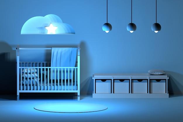 Newborn slepping room interior at night