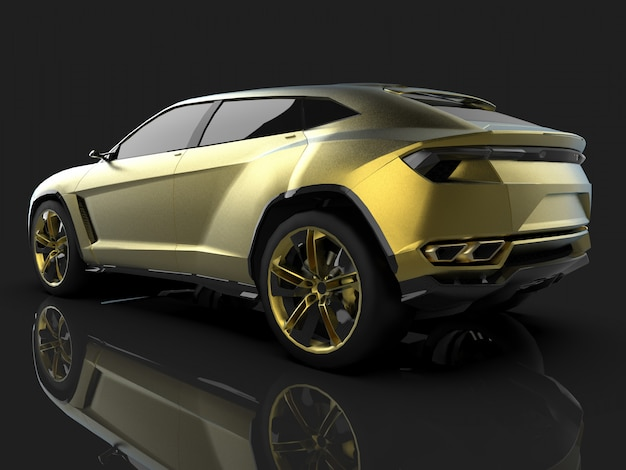 The newest sports all wheel drive gold premium crossover in black studio with reflective floor