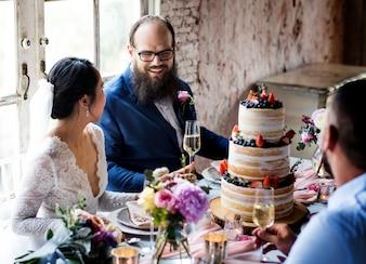 Newlywed Couple Cheerful Wedding Reception