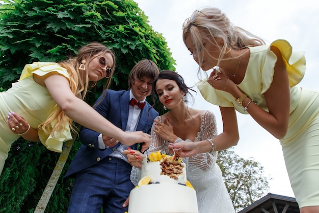新婚夫婦と新婦付け添人は、結婚披露宴で新鮮な空気の中で一緒にウエディングケーキを楽しんで食べます。