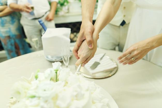 Newlyweds cut wedding cake decorated with silver seastars