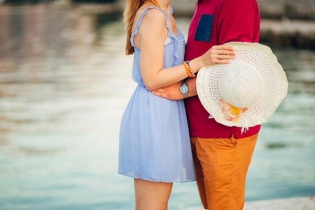 Newlyweds hug each other in montenegro