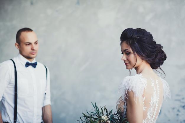 Newlyweds indoors together