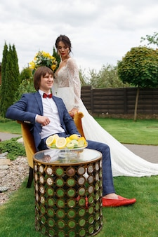 Newlyweds posing for a wedding