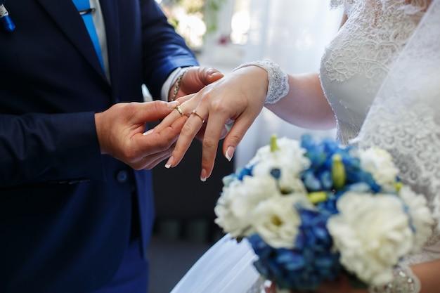 結婚式の日に指にリングが付いている新婚夫婦。