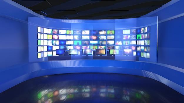 ニュース放送-ニュースルームの背景プレート