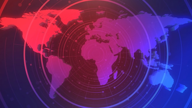 News intro graphic animation with circles and world map, abstract background. elegant and luxury 3d illustration style for news and business template