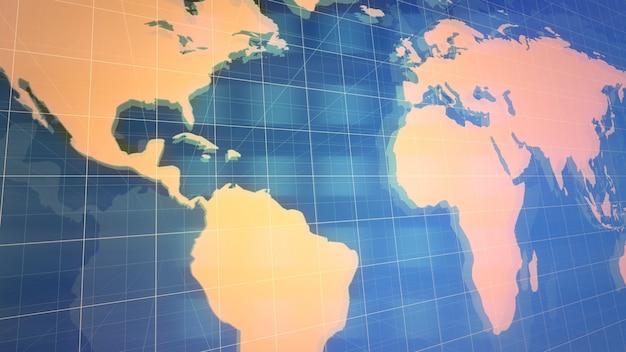 그리드와 세계 지도, 추상적인 배경이 있는 뉴스 소개 그래픽 애니메이션. 뉴스 및 비즈니스 템플릿을 위한 우아하고 고급스러운 3d 일러스트레이션 스타일