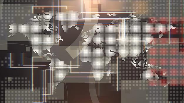 Новостная вводная графическая анимация с сеткой и картой мира