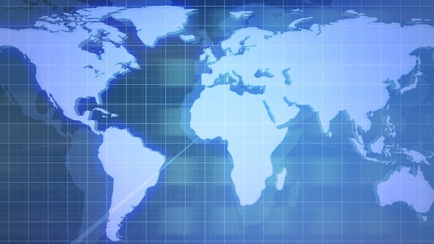 News intro graphic animation with grid and world map, abstract background. elegant and luxury 3d illustration style for news and business template