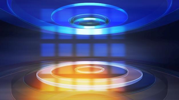 線と円形、抽象的な背景を持つニュースイントログラフィックアニメーション。ニュースやビジネステンプレートのエレガントで豪華な3dイラストスタイル