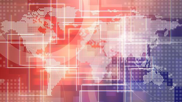 선과 세계 지도, 추상적인 배경이 있는 뉴스 소개 그래픽 애니메이션. 뉴스 및 비즈니스 템플릿을 위한 우아하고 고급스러운 3d 일러스트레이션 스타일