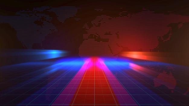 線と世界地図、抽象的な背景を持つニュースイントログラフィックアニメーション。ニュースやビジネステンプレートのエレガントで豪華な3dイラストスタイル