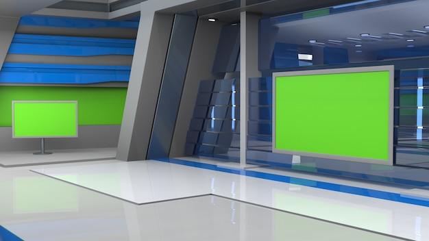 Tv 뉴스 스튜디오 배경은 wall3d 가상 뉴스 스튜디오 배경 3d 그림에 tv를 보여줍니다