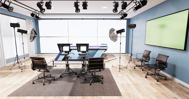 テレビスタジオのニューススタジオの青い部屋のデザインの背景