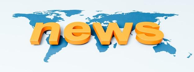 News text on world map