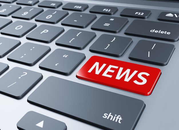Слово новости в красных кнопок клавиатуры. 3d иллюстрации