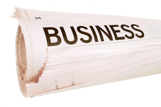 Newspaper business headline