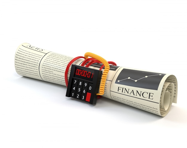 The newspaper with financial news and clockwork, isolated on a white background.