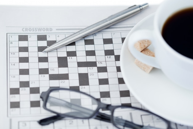 Newspapers and crossword puzzle