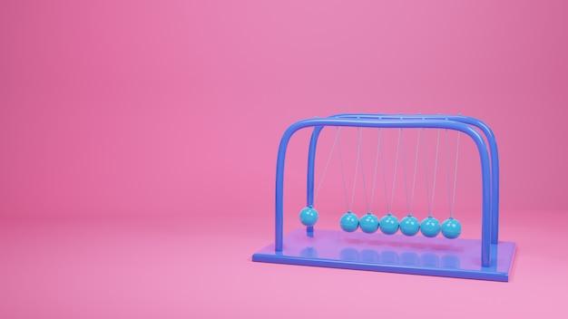 Шар ньютона, балансный дизайн, импульсное движение, 3d-рендеринг