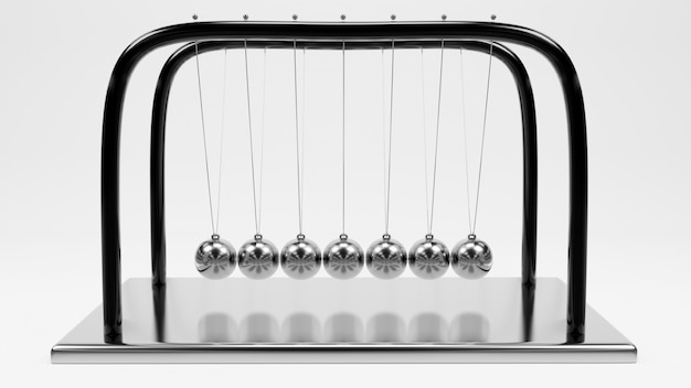 Шар ньютона, балансный дизайн шара, колебание импульса, движение, изолировать, 3d-рендеринг