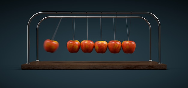 Newton's cradle of apples