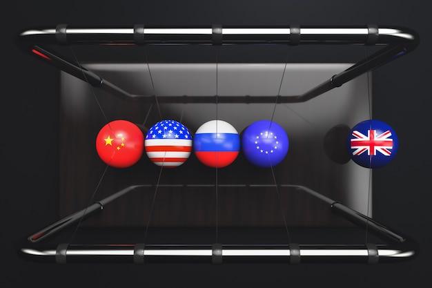 黒い背景にイギリス、欧州連合、ロシア、アメリカ、中国の国旗を持つニュートンのゆりかごボール