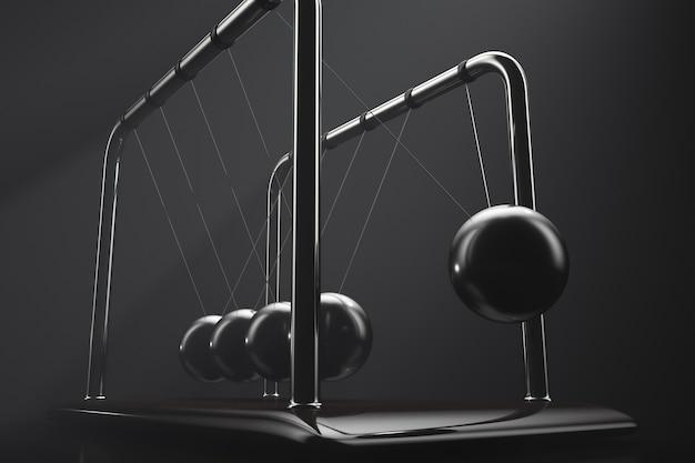 작동 중인 뉴턴의 요람. 에너지 보존 법칙의 시연